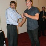 Thomas Dodds accepting his prize
